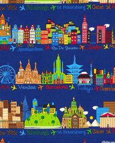 International Landmark Stripe - A Small World After All - Quilt Fabrics from www.eQuilter.com