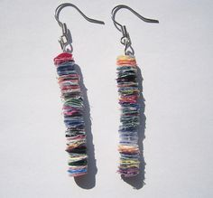 """recycled plastic earrings by jacqui hanson, via Flickr fused plastic bag """"beads"""""""