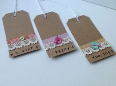 Gift Tags,Lace and Ribbon,Set of Three Handmade Message Tags. £2.25