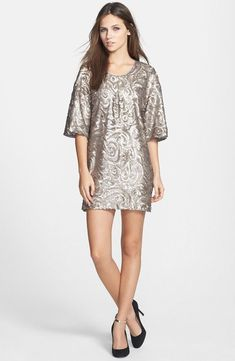 Dress the Population Brooklyn Sequin Shift Dress Multi SIZE S #22 NEW