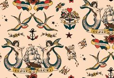 Pattern design inspired by classical sailor tattoos for a textile collection named Port d'Amsterdam