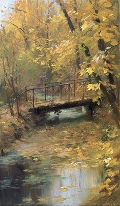 Мостик осенью репродукция для интерьера картина этюд маслом цветы в живописи пейзаж с мостиком мостик осенью пейзаж для интерьера осенняя пора