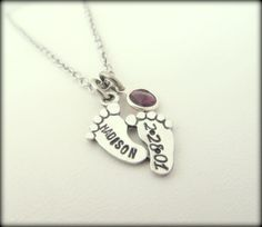 Hand Stamped Jewelry - Personalized Silver Baby Feet Necklace