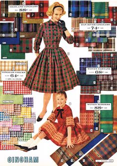 60s plaids and ginghams dress full skirt color print ad model magazine catalogue day casual office red blue green