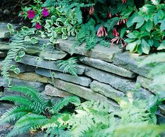 Dry Stack Stone Wall - without mortar, the stones themselves must do the job of holding together, which means finding and fitting pieces so the joins don't overlap. Dry stack also needs a trench or footing dug out--to a depth of about 6-12 inches to add stability.