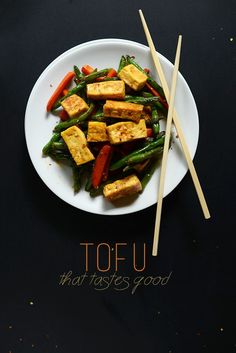 Veggie Tofu Stir Fry [tofu, green beans, carrots/red pepper, sesame oil, soy sauce, ginger, brown sugar, agave, corn starch]