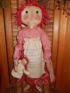 Primitive Handmade Grungy Folk Art Olde Raggedy Ann & Doll in Red OOAK