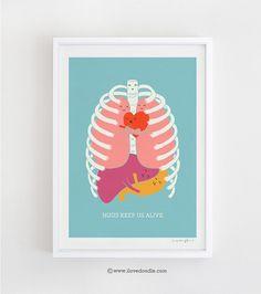 Hugs Keep Us Alive  Art Print van ilovedoodle op Etsy, $30.00