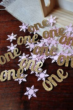"""Winter Onederland Party Decorations. Ships in 1-3 business days. Pink and Gold Party Decorations. """"One"""" and Snowflake Confetti Mix."""