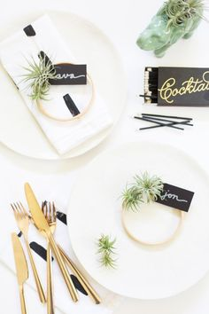 DIY Mini Air Plant Wreath Place Cards (perfect for Thanksgiving!)