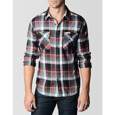 True Religion Plaid Flannel Workwear Mens Shirt