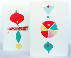 Pack of 5 Christmas Cards. Baubles by EstherCoxsKiosk on Etsy
