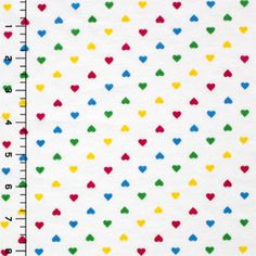 """Rainbow Tiny Hearts Cotton Jersey Knit Fabric - $5.00/yard - Repeating rows of rainbow hearts in yellow, red, green, and blue. Cotton jersey is super soft with a nice stretch. Hearts measure 1/4"""". - Content: Cotton Jersey, Weight: Light to Mid-Weight, Stretch: 35%, Width: 60"""""""