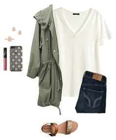"""""""I've been dying to use this jacket in a set!"""" by mckenzie-carr0ll ❤ liked on Polyvore featuring H&M, Kate Spade, NARS Cosmetics, Hollister Co., Mossimo Supply Co., Kendra Scott, women's clothing, women, female and woman"""