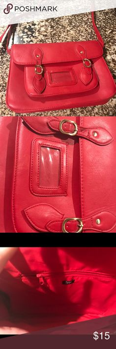 "RED English style satchel Cherry red ""Zatchel"" looking crossbody bag with long strap. Big enough to carry notebooks, wallets, accessories, etc . Not leather, clasp are magnetic. Purse was well loved but still has a lot of wear left . typo Bags Crossbody Bags"