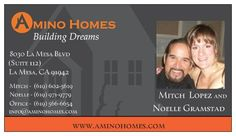 Business cards with custom graphics for real estate developers Amino Homes.