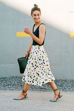8.16 @ WORK with Andi (Collection luxe silk tank top + Collection tossed dot midi skirt + slingback flats in gingham)