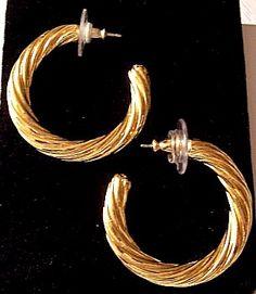 Monet Twisted Hoops Pierced Earrings Gold Tone Vintage Open Ribbed Prettyjewelrythings Jewelry On Artfire