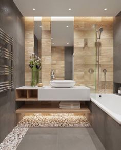 The neutral colours and minimalist styling used in this bathroom have created a harmonised, contemporary space.