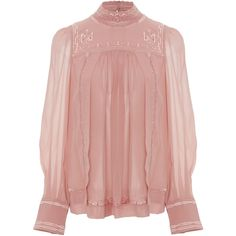 Isabel Marant Maeva Mock Neck Blouse ($840) ❤ liked on Polyvore featuring tops, blouses, pink, ruched blouse, sheer tops, ruched tops, bishop sleeve blouse and cami top