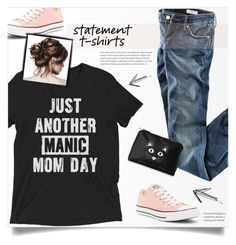 """""""Statement Tee"""" by tawnee-tnt ❤ liked on Polyvore featuring H&M, Converse, Stella & Max and statementtshirt"""