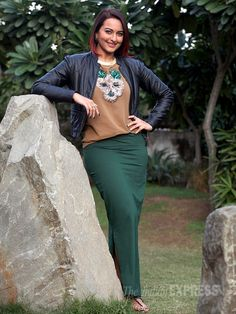 Sonakshi Sinha was sassy in a tee shirt, green maxi skit and a leather biker jacket in Chandigarh to promoting 'Tevar'. #Bollywood #Fashion #Style #Beauty