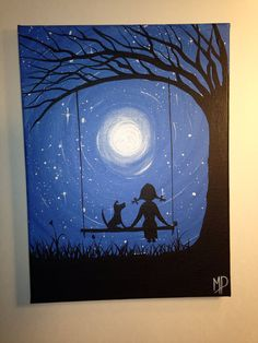 I wish I may  9 x 12 acrylic on canvas panel by  Michael Prosper, $30.00 girl and dog in swing.