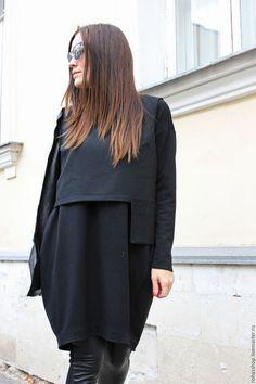 34c86a7ee86 R00040 Платья черное из джерси теплое платье шерстяное красивое короткое  платье на каждый день уютное платье свободное платье маленькое короткое  платье ...