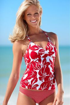 Flower Candy Twist Tankini with Red Polka Dot Bottom. Women's Swimsuits & Cover Ups, Swimsuit Cover Ups, Cute Swimsuits, Women Swimsuits, Cute Bathing Suits, Beachwear, Swimwear, Tankini, Cute Outfits