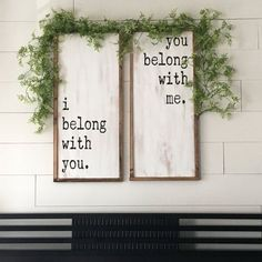 I Belong With You, You Belong With Me Set of 2 Painted Wood Signs // Bedroom Decor // Wedding // Anniversary // Farmhouse Decor // Rustic #ad