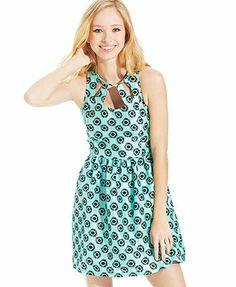 eric + lani Juniors' Printed A-Line Dress  at Macy's