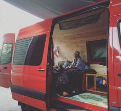 """Driveway test. Insulation, cedar and vent complete. Poppy van ready for her first official #adventure. #sprintervan #sprintervan #hittheroad…"""