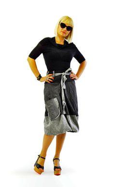 Casual long skirt/Black and gray 100% wool skirt/Asymmetrical