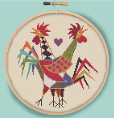 TWO ROOSTERS CROWING  Retro Modern Counted Cross by EccentricAvenue