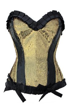 Gold and Black Sequin Corset with Folded Trim