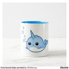 Shop Cute kawaii baby narwhal Two-Tone coffee mug created by Chibibunny. Baby Narwhal, Kawaii Narwhal, Cute Narwhal, Cute Cartoon Animals, Cute Animals, Cute Chibi, Artwork Design, Christmas Card Holders, Cute Babies