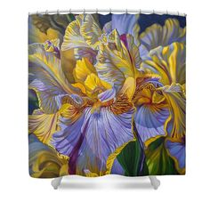 Fionacraig Shower Curtain featuring the painting Floralscape 2 - Mauve And Yellow Irises 1 by Fiona Craig