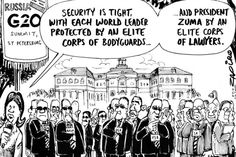 Zuma - Summit 2013 in St. Petersburg published in Sunday Times on 8 Sep 2013 World Leaders, Cartoons, International Relations, Politics, Sayings, Memes, Law, Sunday, Cartoon