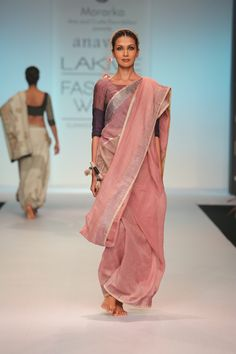 The burnt rose and indigo textured linen Sari