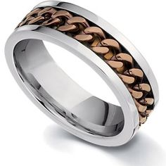S#IceCarats tainless Steel Stainless Steel Chocolate Immerse Plated Chain Polished Wedding Band Ring