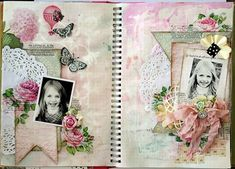 blog with beautiful smash book pages; artist experimented with techniques for fun in her book.