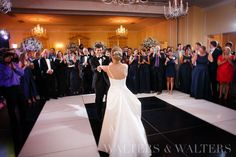 First Dance in our Hill Ballroom with a gorgeous rented black and white dance floor from Party Reflections!  Wortham/Powell, July 2015.