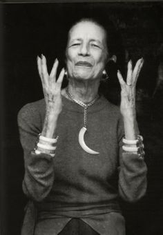 "Diana Vreeland , recognised as ""the Empress Fashion"", with horn necklace & bracelets"