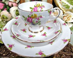 Royal Standard Tea Cup and Saucer Trio with pink Roses