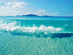 clear blue water.