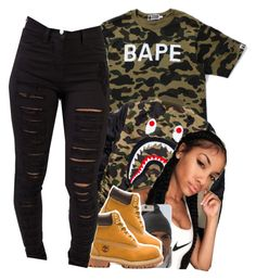 """""""Bape ✨"""" by jchristina ❤ liked on Polyvore featuring interior, interiors, interior design, home, home decor, interior decorating, A BATHING APE and Timberland"""