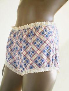 Blue Plaid Bloomer Panties Women's Short Leg Retro Bloomers All Cotton Handmade Indie Underwear Or Sleepwear by Swoon for $38.00