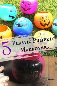How to Make 5 Plastic Pumpkin Bucket Makeovers Easy Halloween Decorations, Halloween Crafts For Kids, Halloween Diy, Outdoor Halloween, Fall Decorations, Halloween Costumes, Pumpkin Bucket, Plastic Pumpkins, Pumpkin Decorating