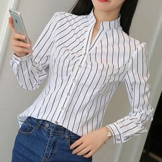 Winter Blouses, Summer Blouses, Cute Blouses, Blouses For Women, The Office Shirts, Spring Shirts, Chiffon Shirt, Blouse Styles, Stripe Print