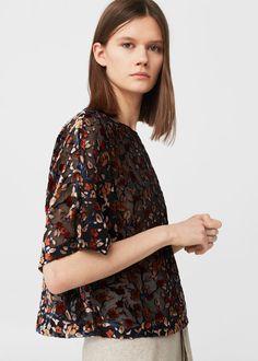 Velvet blouse - Woman | MANGO United Kingdom
